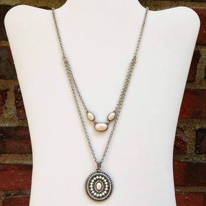 2 strand layered stone pendant necklace